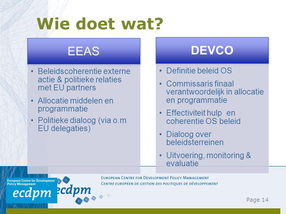 Wie doet wat? Page 14 EEAS Beleidscoherentie externe actie & politieke relaties met EU partners Allocatie middelen en programmatie Politieke dialoog (