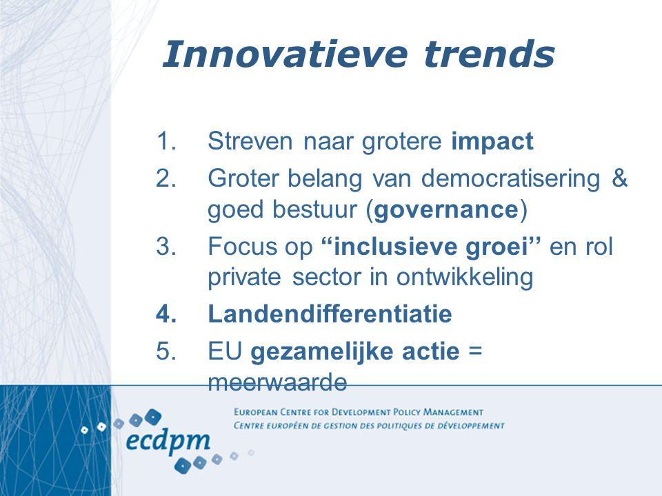 """Innovatieve trends 1.Streven naar grotere impact 2.Groter belang van democratisering & goed bestuur (governance) 3.Focus op """"inclusieve groei'' en rol"""