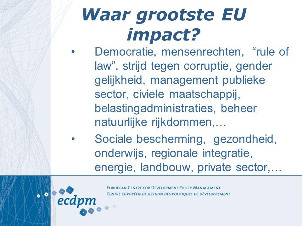 """Waar grootste EU impact? Democratie, mensenrechten, """"rule of law"""", strijd tegen corruptie, gender gelijkheid, management publieke sector, civiele maat"""