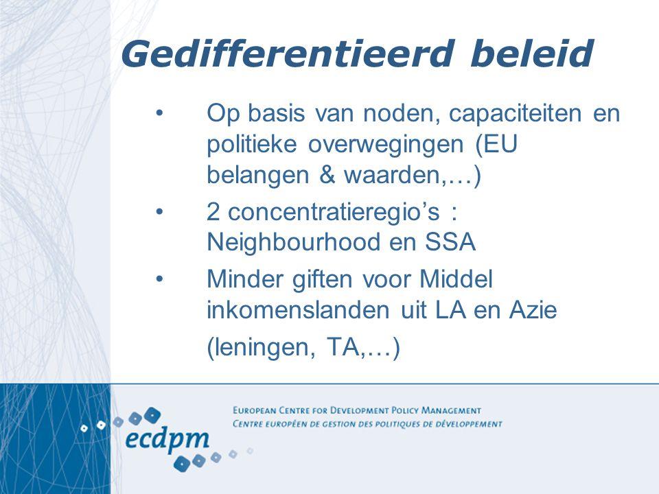 Gedifferentieerd beleid Op basis van noden, capaciteiten en politieke overwegingen (EU belangen & waarden,…) 2 concentratieregio's : Neighbourhood en
