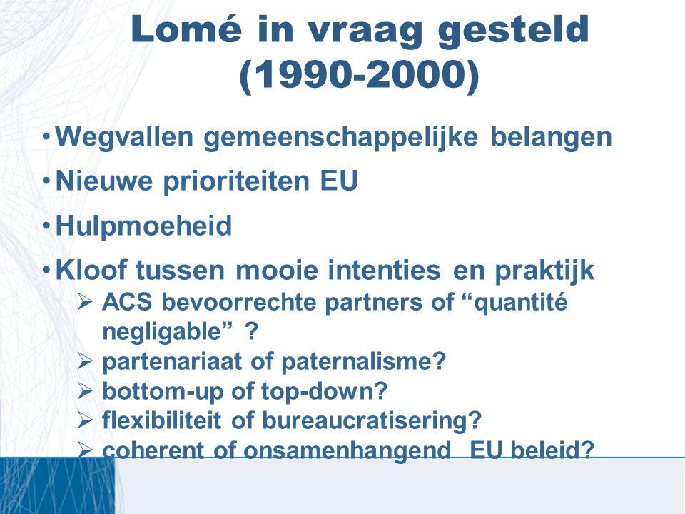 Lomé in vraag gesteld (1990-2000) Wegvallen gemeenschappelijke belangen Nieuwe prioriteiten EU Hulpmoeheid Kloof tussen mooie intenties en praktijk 