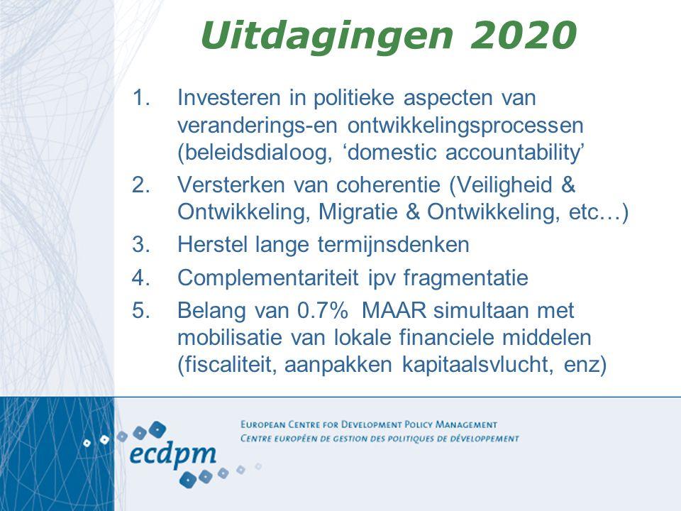 Uitdagingen 2020 1.Investeren in politieke aspecten van veranderings-en ontwikkelingsprocessen (beleidsdialoog, 'domestic accountability' 2.Versterken