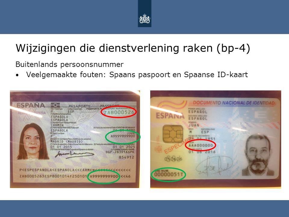 Wijzigingen die dienstverlening raken (bp-4) Buitenlands persoonsnummer Veelgemaakte fouten: Spaans paspoort en Spaanse ID-kaart