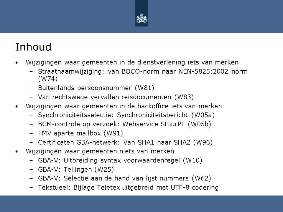 Inhoud Wijzigingen waar gemeenten in de dienstverlening iets van merken –Straatnaamwijziging: van BOCO-norm naar NEN-5825:2002 norm (W74) –Buitenlands
