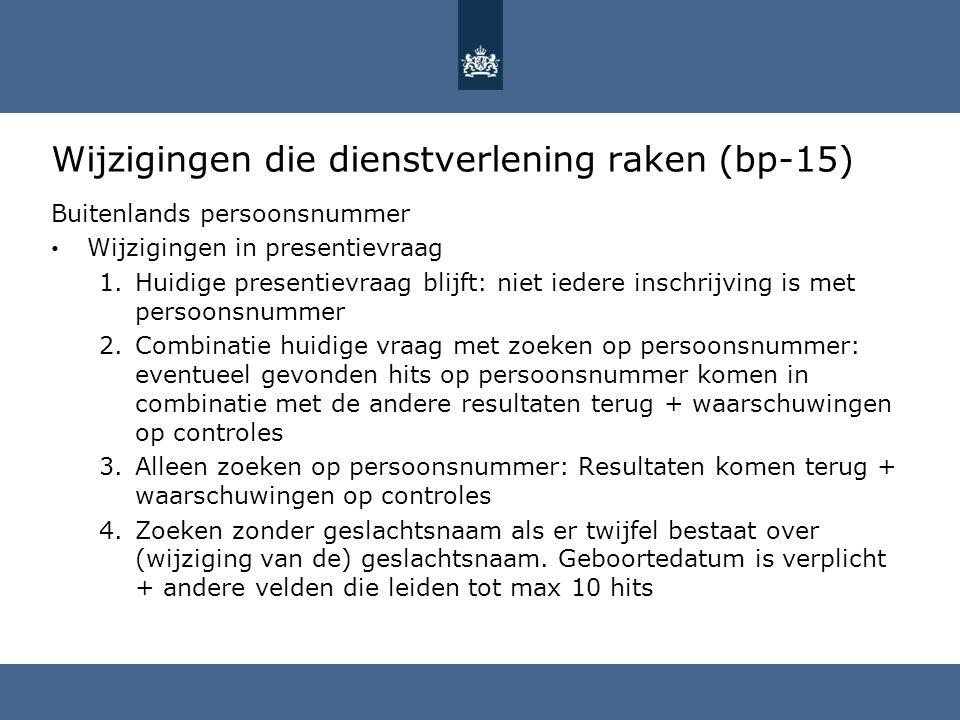 Wijzigingen die dienstverlening raken (bp-15) Buitenlands persoonsnummer Wijzigingen in presentievraag 1.Huidige presentievraag blijft: niet iedere in