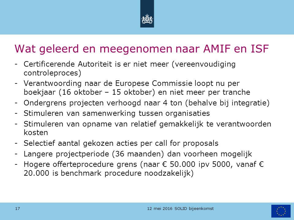 12 mei 2016 SOLID bijeenkomst Wat geleerd en meegenomen naar AMIF en ISF -Certificerende Autoriteit is er niet meer (vereenvoudiging controleproces) -