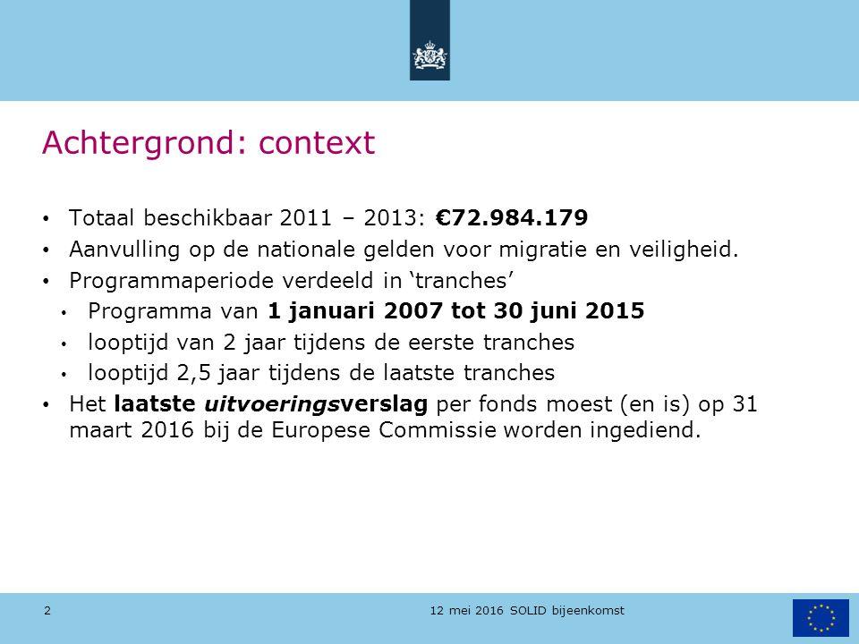 12 mei 2016 SOLID bijeenkomst Achtergrond: context Totaal beschikbaar 2011 – 2013: €72.984.179 Aanvulling op de nationale gelden voor migratie en veil