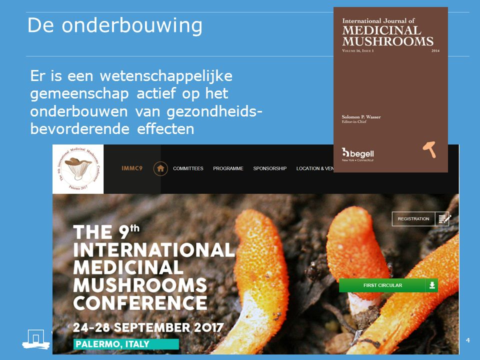 De onderbouwing 5 Mushrooms and Health 2014 is the 4th edition superseding the initial report in 2008 which was updated biennially in 2010, and 2012.200820102012 www.mushroomsandhealth.com