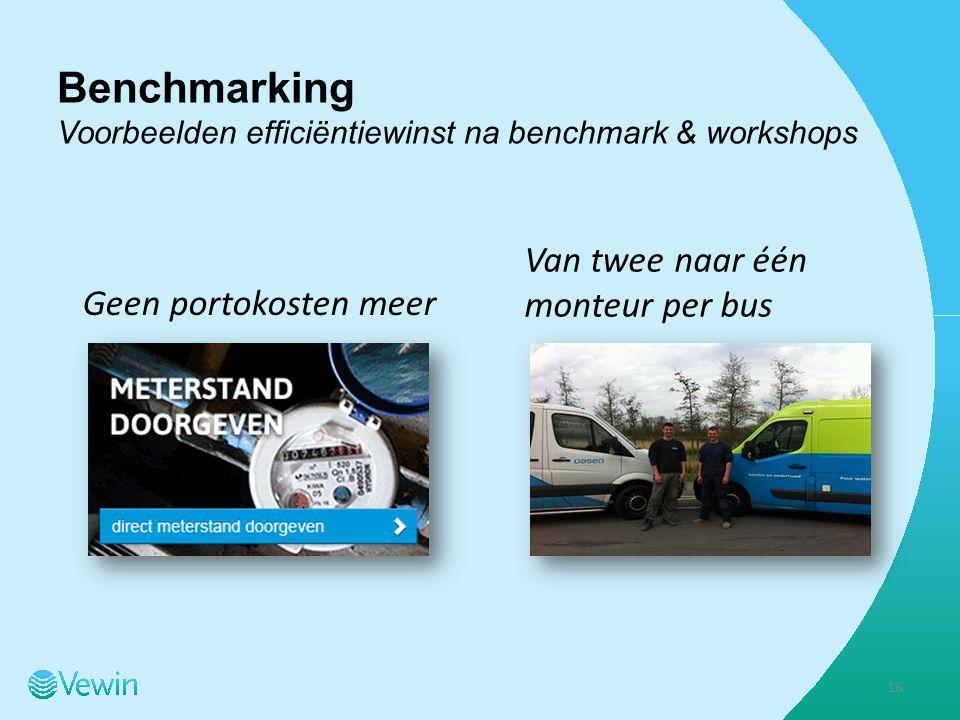 Benchmarking Voorbeelden efficiëntiewinst na benchmark & workshops Geen portokosten meer Van twee naar één monteur per bus 16