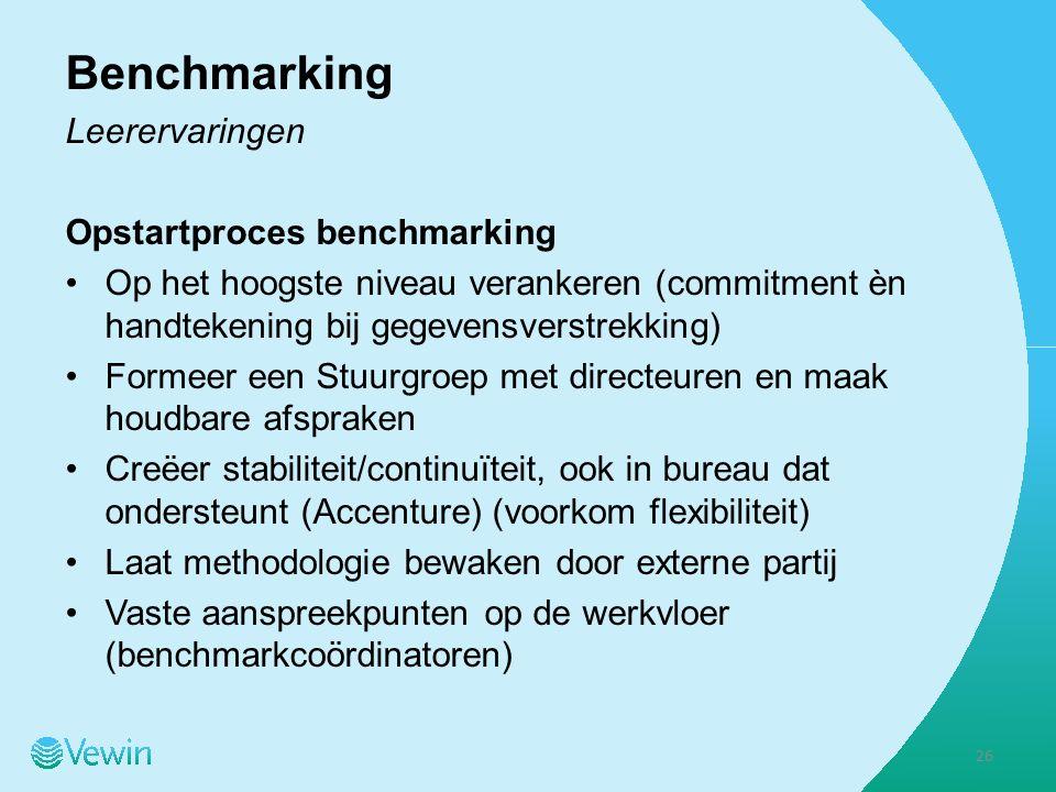 Benchmarking Leerervaringen Opstartproces benchmarking Op het hoogste niveau verankeren (commitment èn handtekening bij gegevensverstrekking) Formeer een Stuurgroep met directeuren en maak houdbare afspraken Creëer stabiliteit/continuïteit, ook in bureau dat ondersteunt (Accenture) (voorkom flexibiliteit) Laat methodologie bewaken door externe partij Vaste aanspreekpunten op de werkvloer (benchmarkcoördinatoren) 26