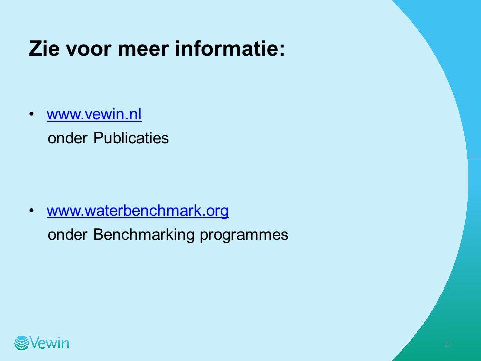Zie voor meer informatie: www.vewin.nl onder Publicaties www.waterbenchmark.org onder Benchmarking programmes 27