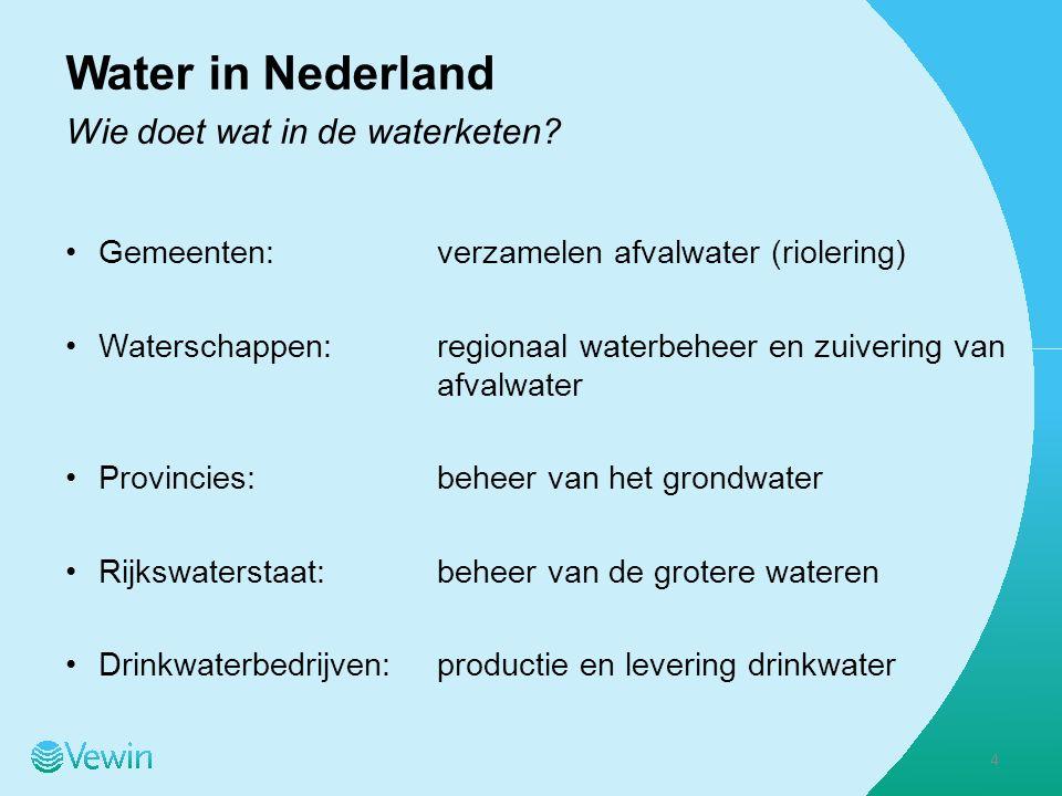 Drinkwaterbedrijven 10 drinkwaterbedrijven Vewin functioneert als koepelvereniging Eigendom:publiek Aantal fte:5.002 Productie:1.126 miljoen m 3 jaar Prod.