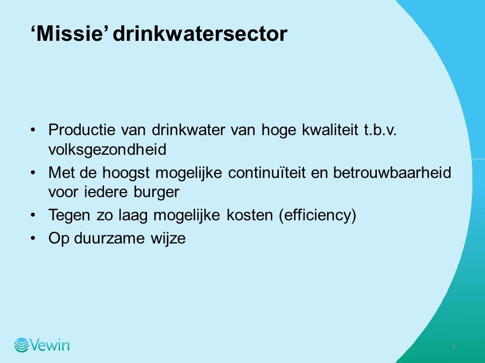 'Missie' drinkwatersector Productie van drinkwater van hoge kwaliteit t.b.v.