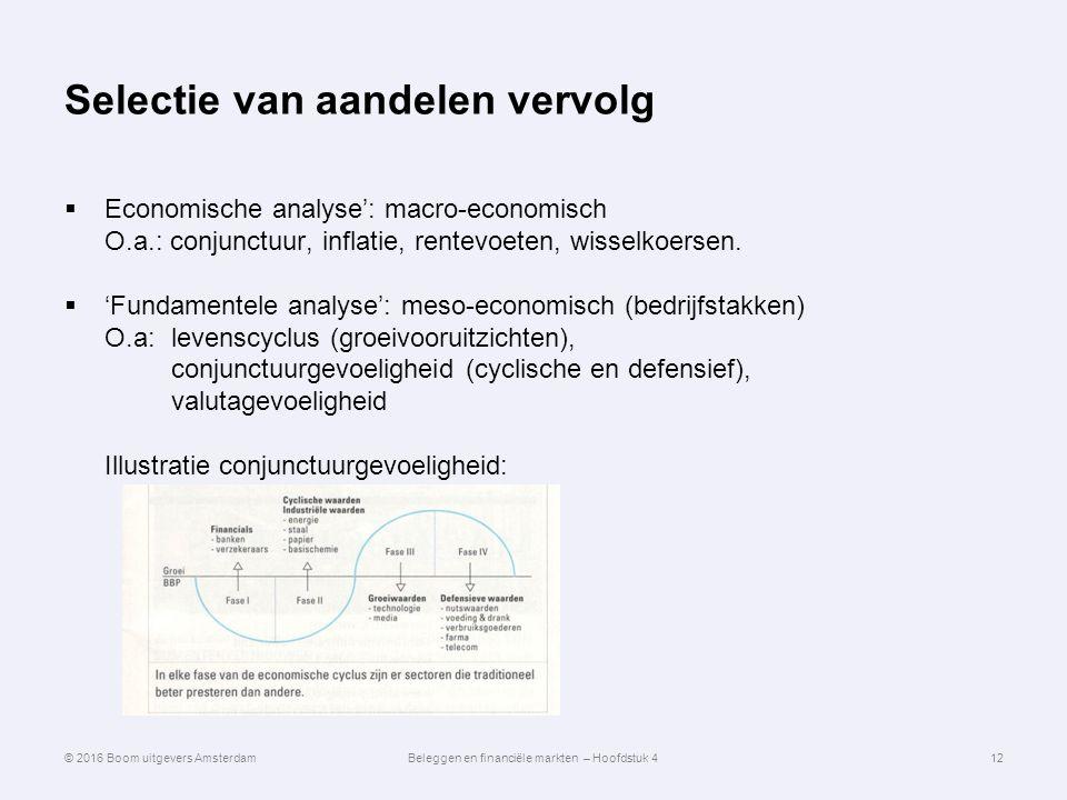 Selectie van aandelen vervolg  Economische analyse': macro-economisch O.a.: conjunctuur, inflatie, rentevoeten, wisselkoersen.  'Fundamentele analys