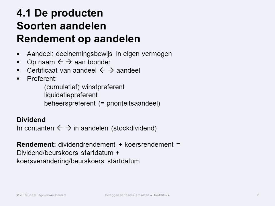 4.1 De producten Soorten aandelen Rendement op aandelen  Aandeel: deelnemingsbewijs in eigen vermogen  Op naam   aan toonder  Certificaat van aan
