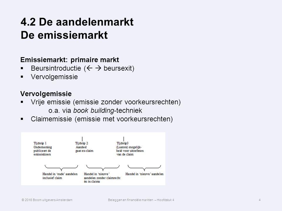 4.2 De aandelenmarkt De emissiemarkt Emissiemarkt: primaire markt  Beursintroductie (   beursexit)  Vervolgemissie Vervolgemissie  Vrije emissie