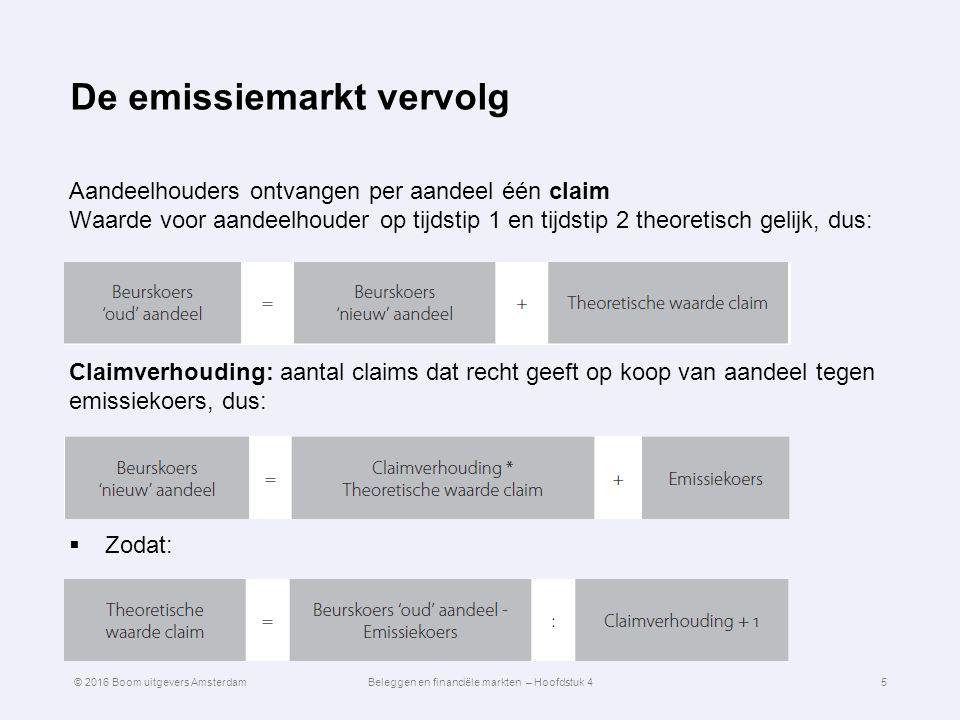 De emissiemarkt vervolg Aandeelhouders ontvangen per aandeel één claim Waarde voor aandeelhouder op tijdstip 1 en tijdstip 2 theoretisch gelijk, dus: