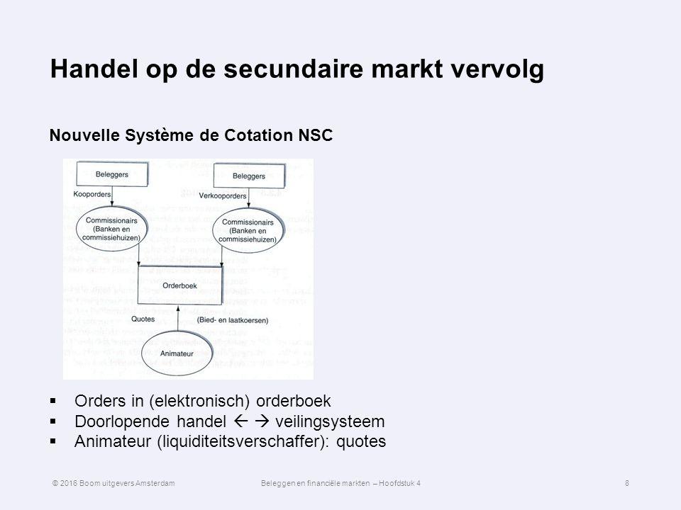 Handel op de secundaire markt vervolg Nouvelle Système de Cotation NSC  Orders in (elektronisch) orderboek  Doorlopende handel   veilingsysteem 