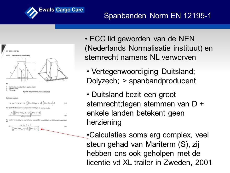 Spanbanden Norm EN 12195-1 Veel veiligheidsfactoren in de calculaties / formules, zoals de tiltingfactor, K-waarde, lage frictiewaardes, etc Resultaten in voorbeelden;