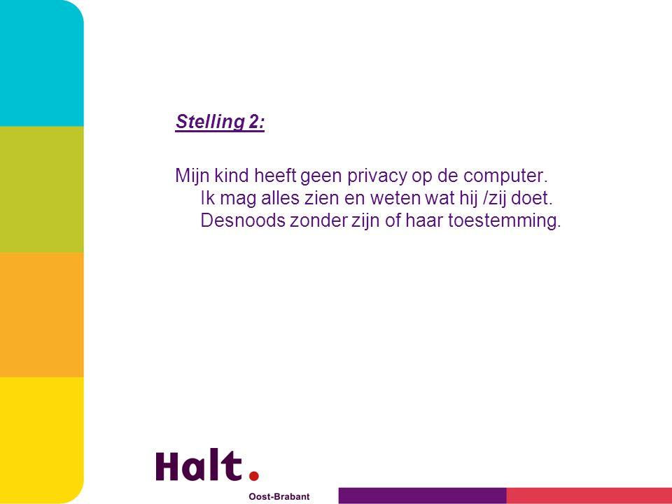 Stelling 2: Mijn kind heeft geen privacy op de computer.