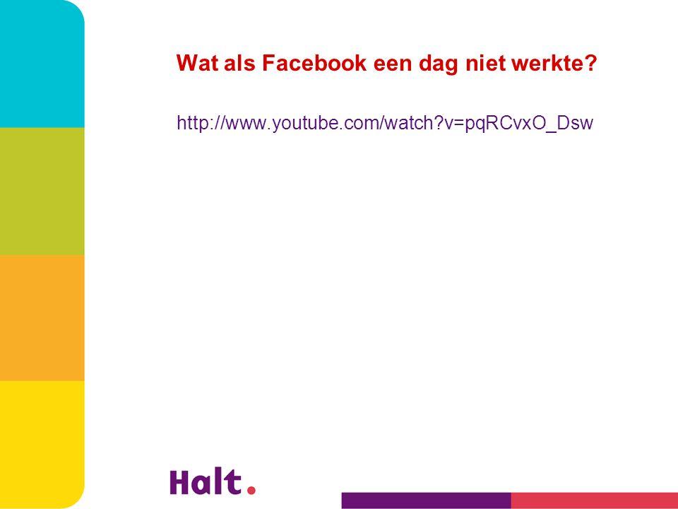 Wat als Facebook een dag niet werkte? http://www.youtube.com/watch?v=pqRCvxO_Dsw