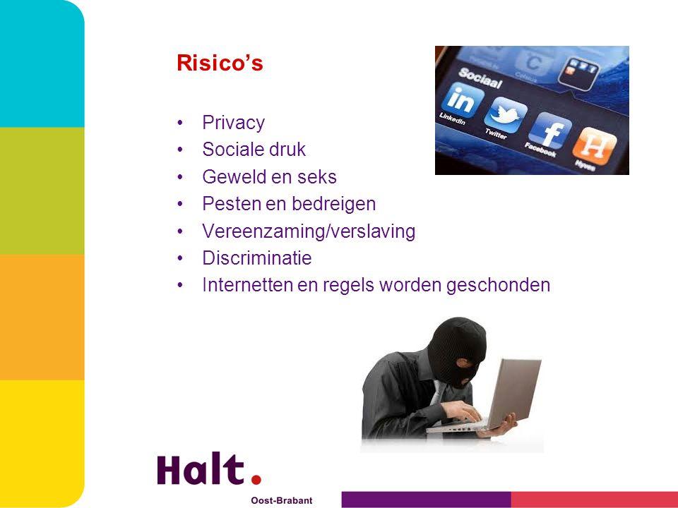 Risico's Privacy Sociale druk Geweld en seks Pesten en bedreigen Vereenzaming/verslaving Discriminatie Internetten en regels worden geschonden