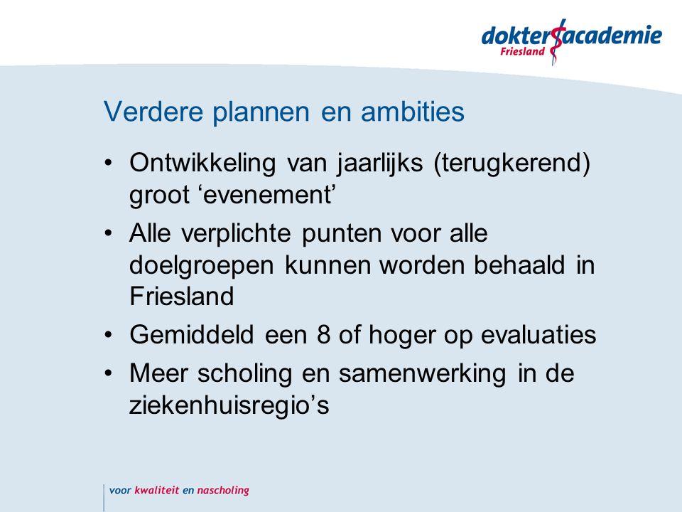 Verdere plannen en ambities Ontwikkeling van jaarlijks (terugkerend) groot 'evenement' Alle verplichte punten voor alle doelgroepen kunnen worden behaald in Friesland Gemiddeld een 8 of hoger op evaluaties Meer scholing en samenwerking in de ziekenhuisregio's