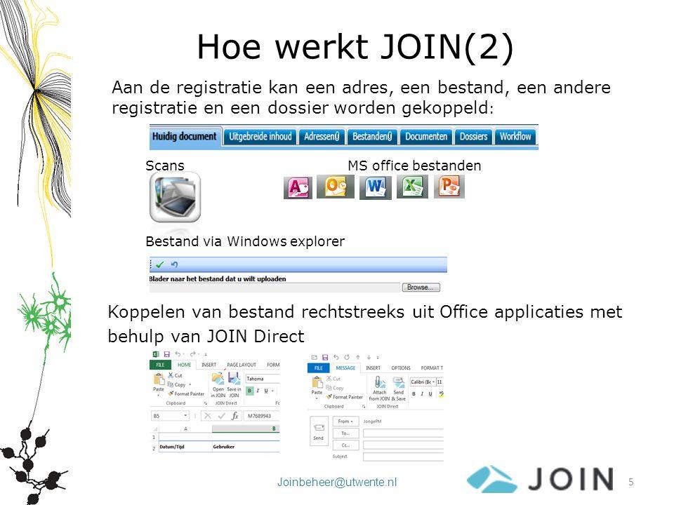 Joinbeheer@utwente.nl Hoe werkt JOIN (3) Registraties kunnen worden gekoppeld aan één of meer onderwerpen (dossiers) Dossiers zijn verzameling links naar registraties: een document wordt slechts éénmaal vastgelegd Dossiers worden ingericht op basis van wensen gebruikers, waarbij rekening wordt gehouden met de archiefwettelijke plicht tot archiveren van bepaalde onderwerpen 6