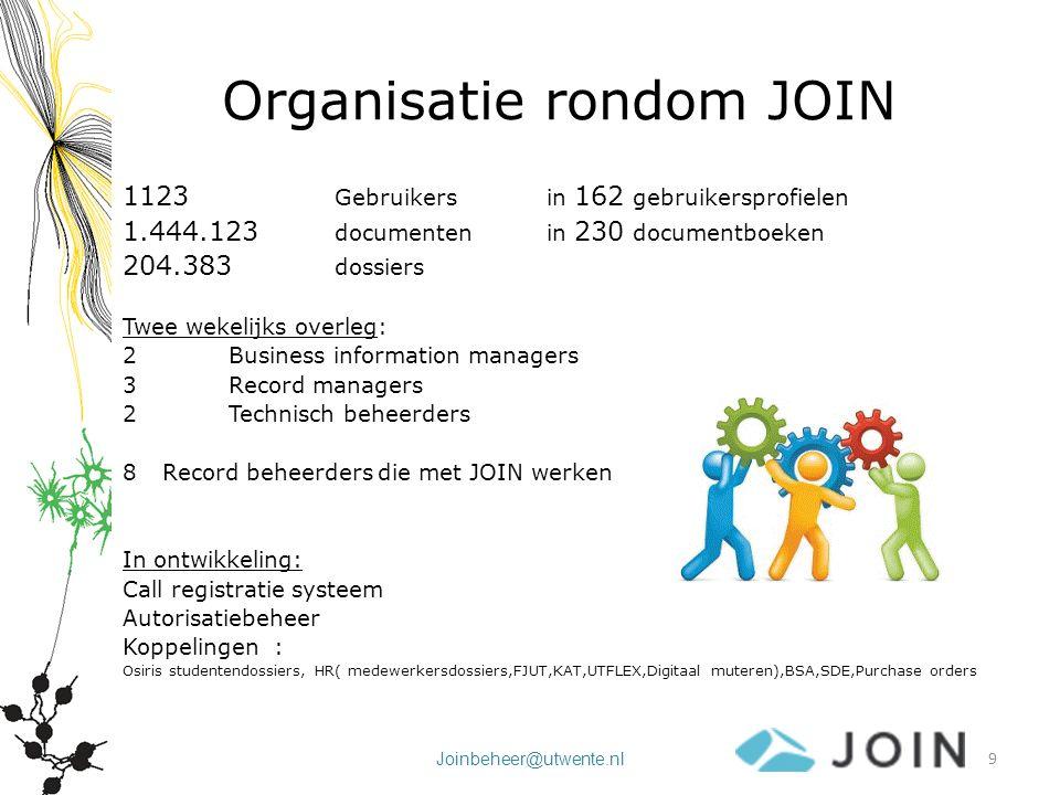 Joinbeheer@utwente.nl Organisatie rondom JOIN 1123 Gebruikers in 162 gebruikersprofielen 1.444.123 documenten in 230 documentboeken 204.383 dossiers T