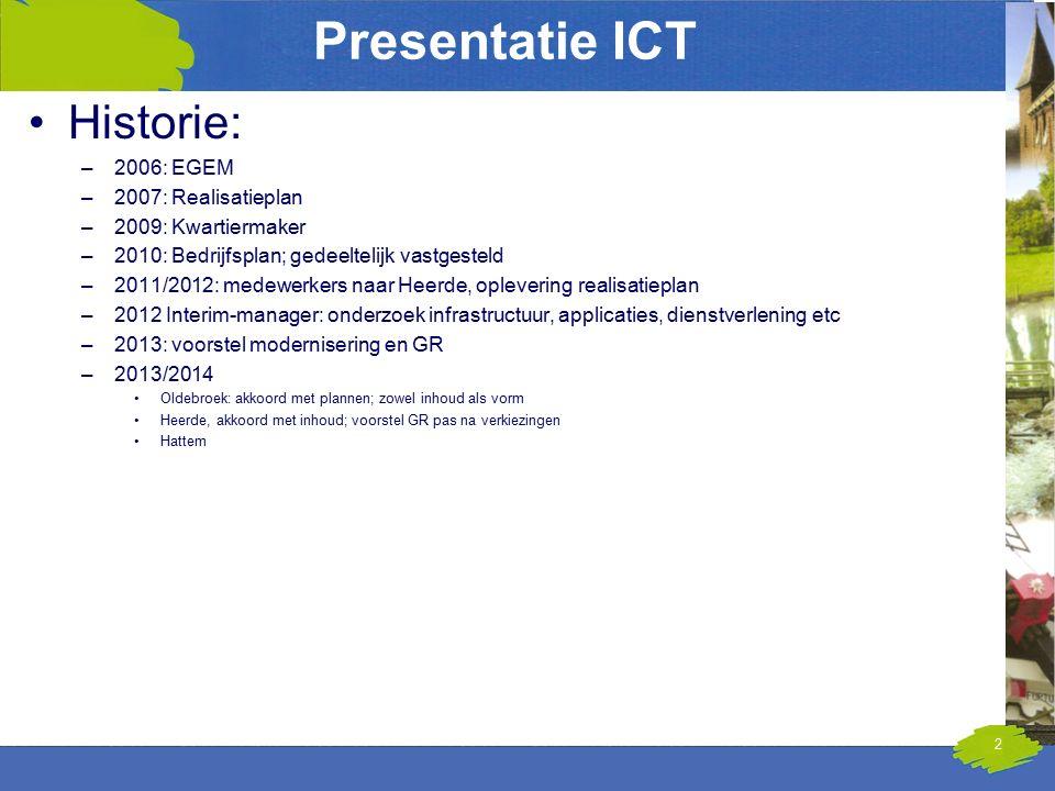 Presentatie ICT Historie: –2006: EGEM –2007: Realisatieplan –2009: Kwartiermaker –2010: Bedrijfsplan; gedeeltelijk vastgesteld –2011/2012: medewerkers