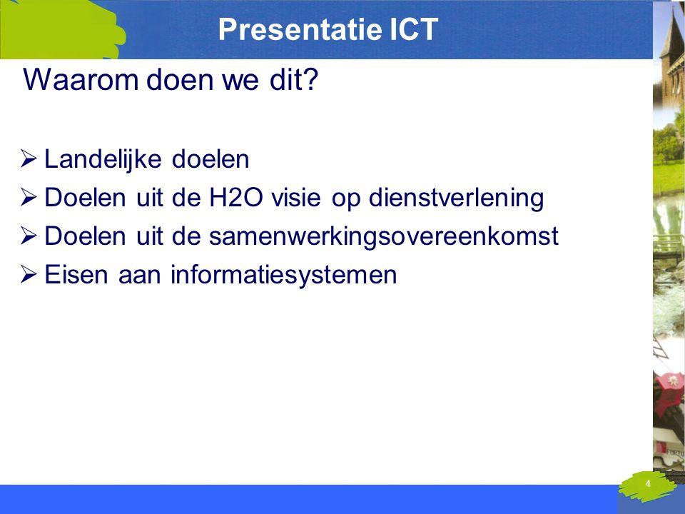 Presentatie ICT Waarom doen we dit?  Landelijke doelen  Doelen uit de H2O visie op dienstverlening  Doelen uit de samenwerkingsovereenkomst  Eisen