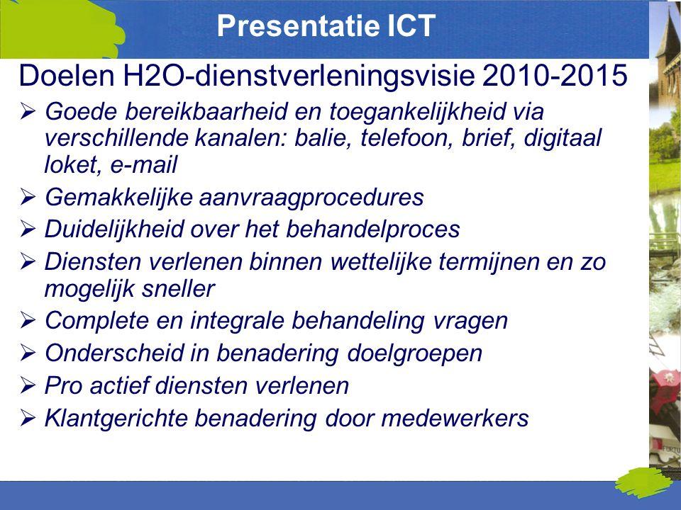 Presentatie ICT Doelen H2O-dienstverleningsvisie 2010-2015  Goede bereikbaarheid en toegankelijkheid via verschillende kanalen: balie, telefoon, brie