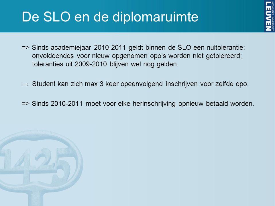 De SLO en de diplomaruimte => Sinds academiejaar 2010-2011 geldt binnen de SLO een nultolerantie: onvoldoendes voor nieuw opgenomen opo's worden niet getolereerd; toleranties uit 2009-2010 blijven wel nog gelden.
