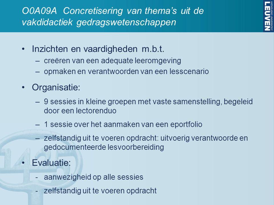 O0A09A Concretisering van thema's uit de vakdidactiek gedragswetenschappen Inzichten en vaardigheden m.b.t. –creëren van een adequate leeromgeving –op