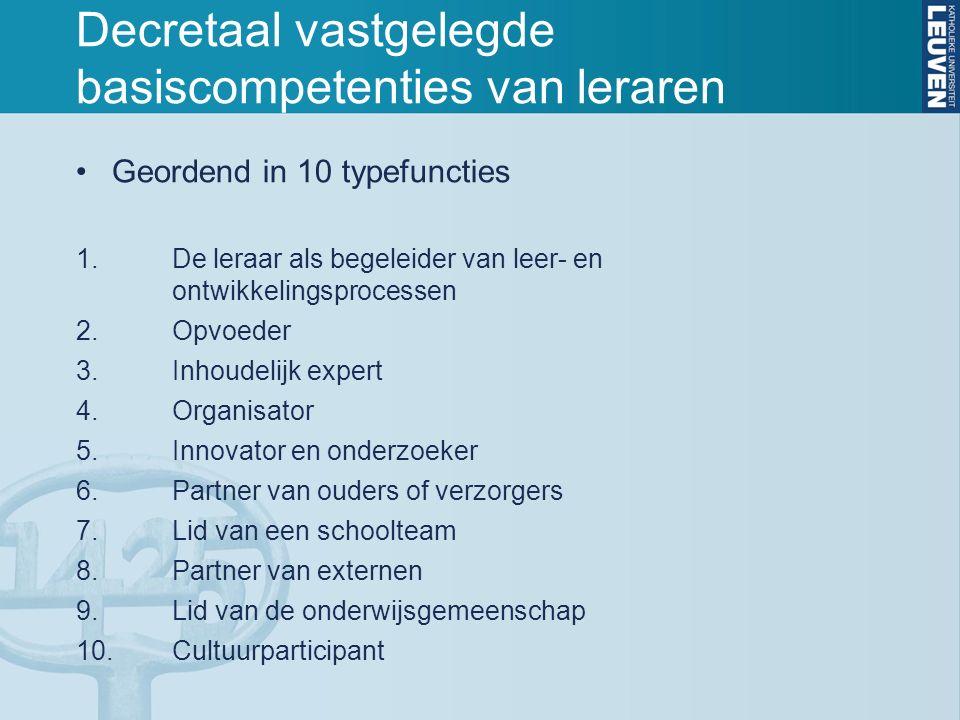 Decretaal vastgelegde basiscompetenties van leraren Geordend in 10 typefuncties 1.