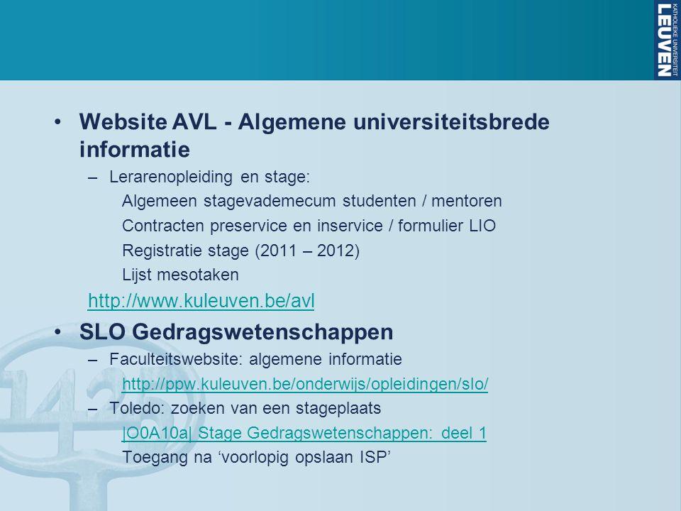 Website AVL - Algemene universiteitsbrede informatie –Lerarenopleiding en stage: Algemeen stagevademecum studenten / mentoren Contracten preservice en