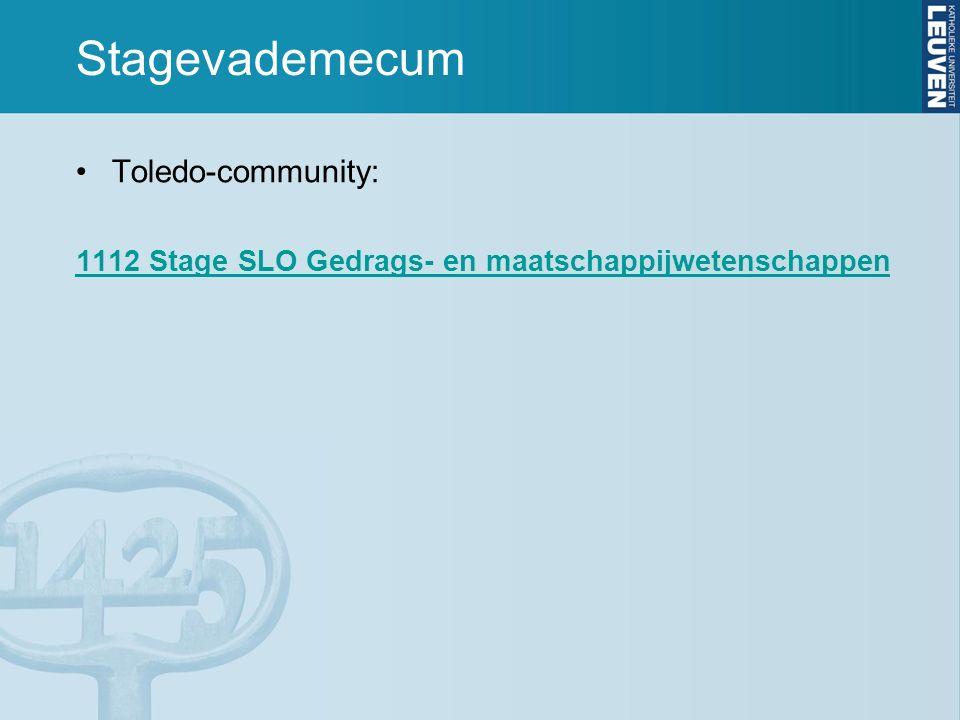 Stagevademecum Toledo-community: 1112 Stage SLO Gedrags- en maatschappijwetenschappen