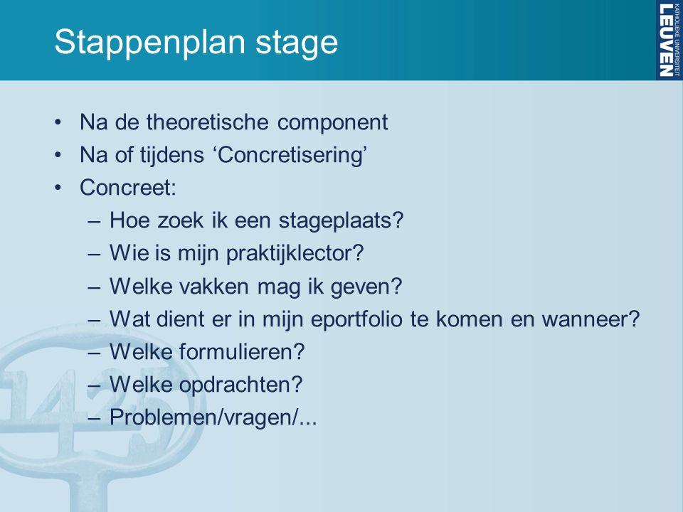 Stappenplan stage Na de theoretische component Na of tijdens 'Concretisering' Concreet: –Hoe zoek ik een stageplaats? –Wie is mijn praktijklector? –We