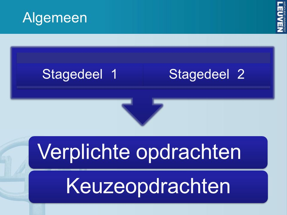 Algemeen Stagedeel 1Stagedeel 2 Verplichte opdrachtenKeuzeopdrachten