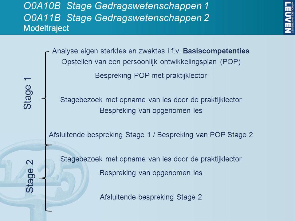 O0A10B Stage Gedragswetenschappen 1 O0A11B Stage Gedragswetenschappen 2 Modeltraject Analyse eigen sterktes en zwaktes i.f.v. Basiscompetenties Opstel