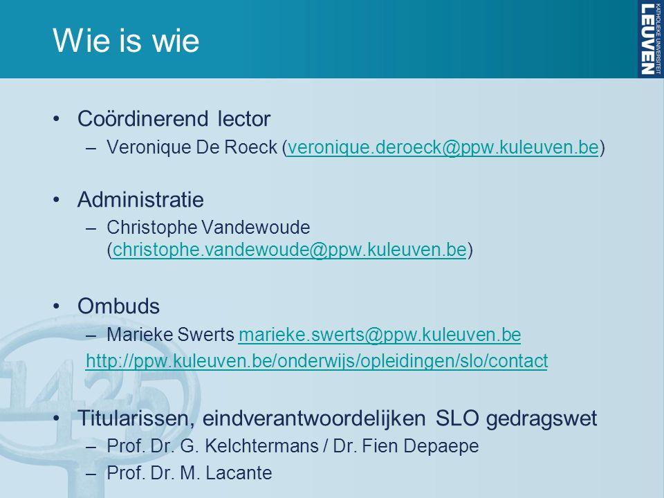 Wie is wie Coördinerend lector –Veronique De Roeck (veronique.deroeck@ppw.kuleuven.be)veronique.deroeck@ppw.kuleuven.be Administratie –Christophe Vandewoude (christophe.vandewoude@ppw.kuleuven.be)christophe.vandewoude@ppw.kuleuven.be Ombuds –Marieke Swerts marieke.swerts@ppw.kuleuven.bemarieke.swerts@ppw.kuleuven.be http://ppw.kuleuven.be/onderwijs/opleidingen/slo/contact Titularissen, eindverantwoordelijken SLO gedragswet –Prof.