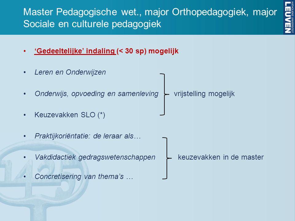 Master Psychologie SLO-vakken opgenomen in Keuzevenster SLO Gedragswetenschappen  - 'volledige' of 'gedeeltelijke' indaling (30 sp) mogelijk voor Schoolpsychologie - geen indaling maar wel mogelijk om universiteitsbreed te kiezen, dus ook SLO-vakken.