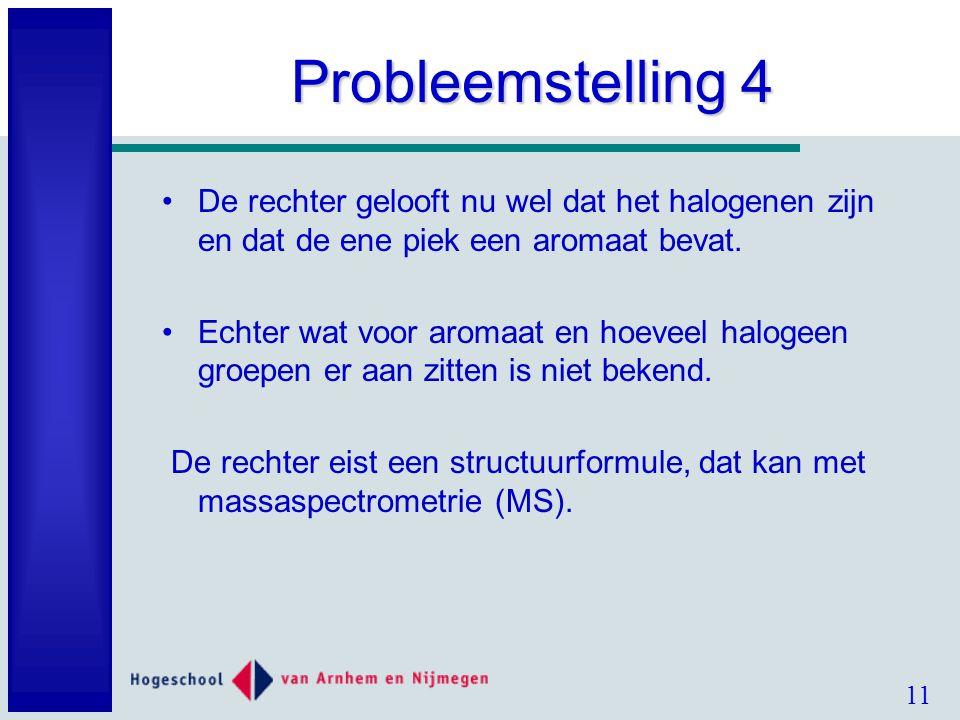 11 Probleemstelling 4 De rechter gelooft nu wel dat het halogenen zijn en dat de ene piek een aromaat bevat.