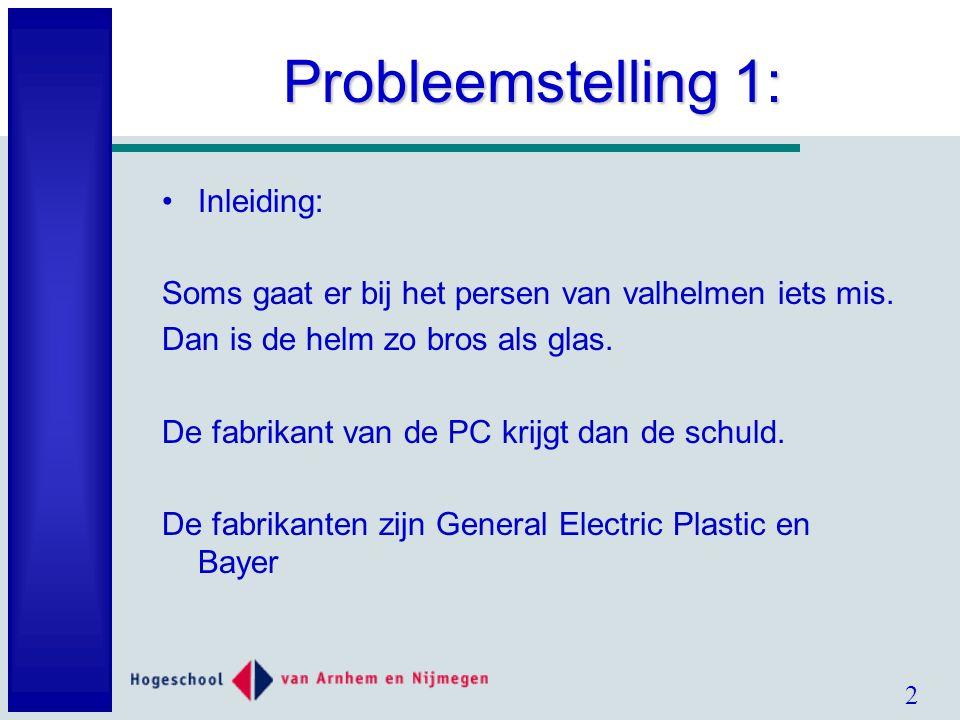 2 Probleemstelling 1: Inleiding: Soms gaat er bij het persen van valhelmen iets mis.