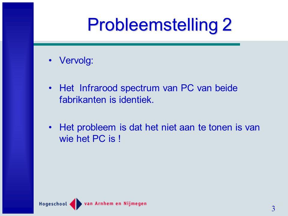 3 Probleemstelling 2 Vervolg: Het Infrarood spectrum van PC van beide fabrikanten is identiek.