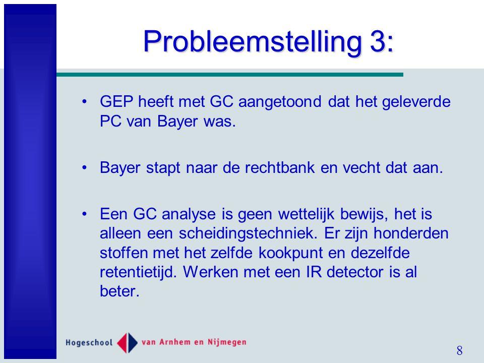 8 Probleemstelling 3: GEP heeft met GC aangetoond dat het geleverde PC van Bayer was.