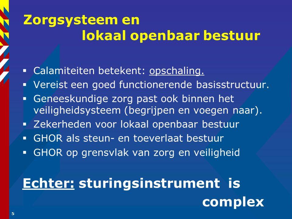 5 Zorgsysteem en lokaal openbaar bestuur  Calamiteiten betekent: opschaling.