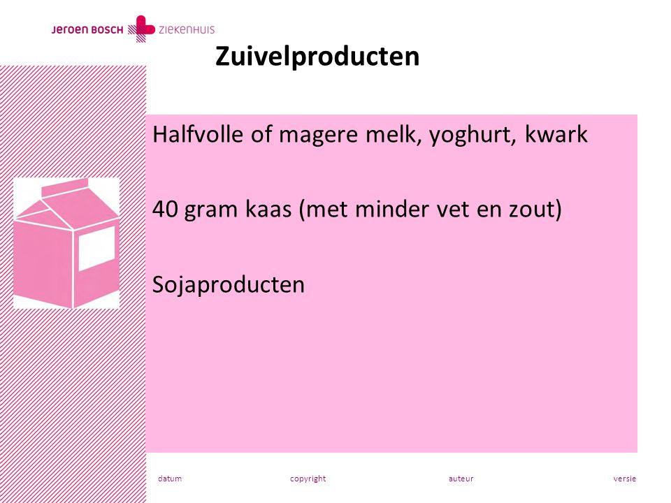 datumcopyrightauteurversie Halfvolle of magere melk, yoghurt, kwark 40 gram kaas (met minder vet en zout) Sojaproducten Zuivelproducten