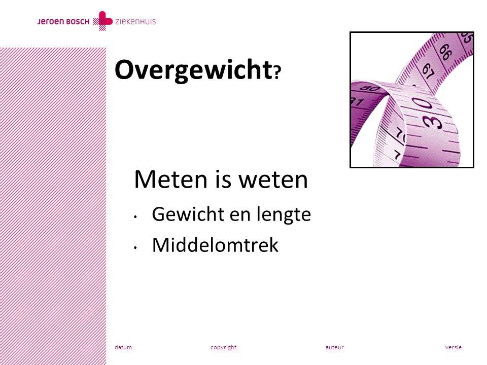 datumcopyrightauteurversie Meten is weten Gewicht en lengte Middelomtrek Overgewicht