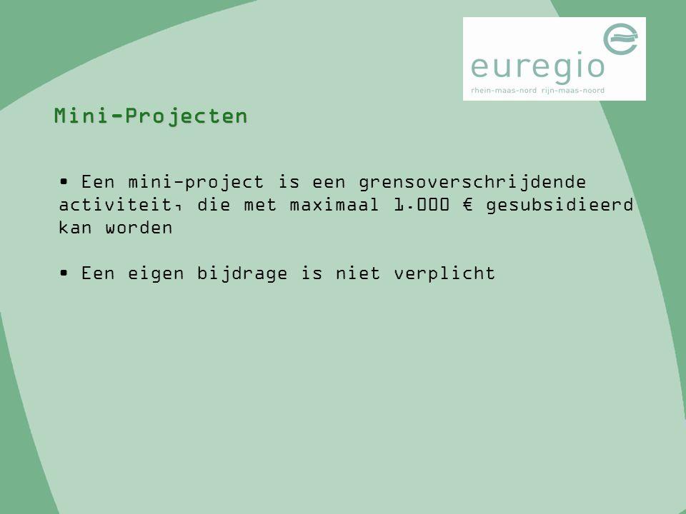 Mini-Projecten Een mini-project is een grensoverschrijdende activiteit, die met maximaal 1.000 € gesubsidieerd kan worden Een eigen bijdrage is niet v
